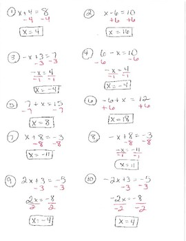 Solving multiple step equations class activity