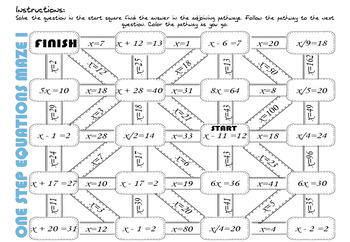 Solving one step equations 5 x mazes (positive integers)