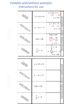 Solving one step equations task cards and foldable (negatives and decimals)