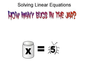 Solving one step equations with animated story