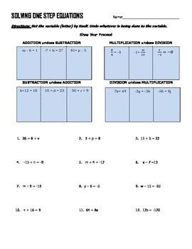 Solving one step equations with word problems