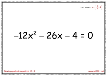 Solving quadratic equations - Scavenger Hunt game