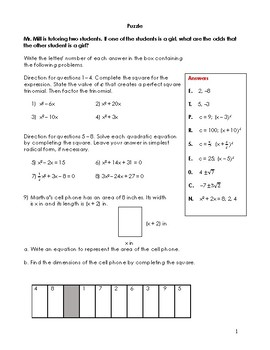 Algebra 2 Completing The Square Puzzle Worksheets & Teaching ...