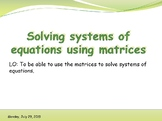 Solving systems of equations using inverse matrix