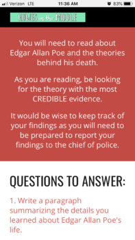Solving the Mysterious Death of Edgar Allan Poe - Web Quest Activity