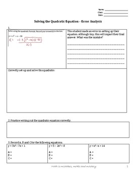 Solving the Quadratic Equation Error Analyis