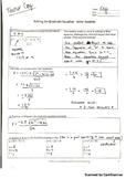 Solving the Quadratic Equation Error Analysis (Key)