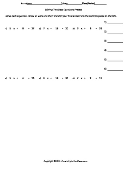 Solving Two-Step Equations Pretest FREE