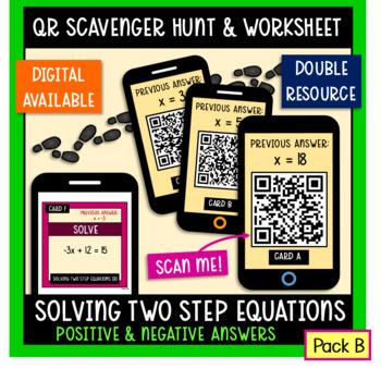 Solving two-step equations QR scavenger hunt