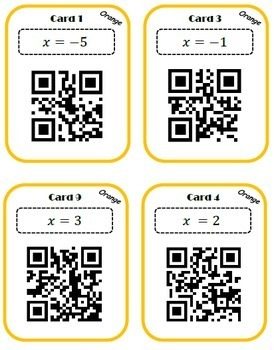 Solving two-step equations with brackets QR scavenger hunt