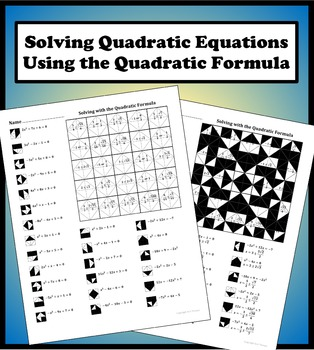 Solving with the Quadratic Formula Color Worksheet