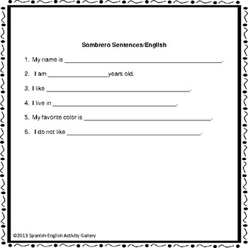 Sombrero Sentences Ice Breaker/Bilingual