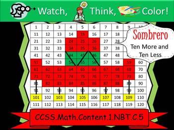 Sombrero Ten More/Ten Less - Watch, Think, Color Game! CCSS.1.NBT.C.5