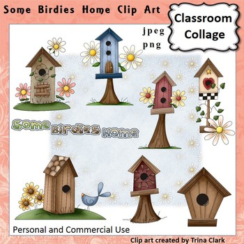 Some Birdies Home Birdhouse Clip Art - Color - personal & commercial use
