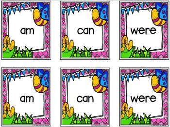 Some Buggy Sight Words:  LOW PREP Bug Themed Card Game
