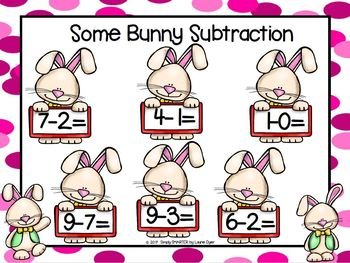 Some Bunny Subtraction:  NO PREP Easter Themed Grab and Cover Game
