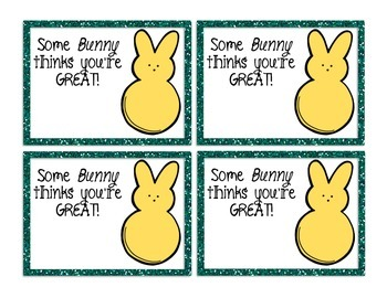 Some Bunny Thinks You're Great! Easter Tags