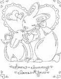 Some Bunny Loves You! Valentine's Day Easter Spring Coloring Page & Clip Art