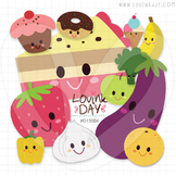 Some Fruits Vegies and Sweets Clip Art Set