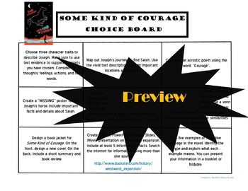 Some Kind of Courage Choice Board Novel Study Activities Menu Book Project