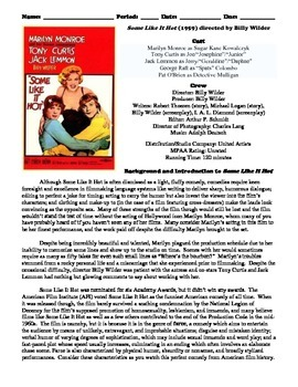 Some Like It Hot Film (1959) Study Guide Movie Packet