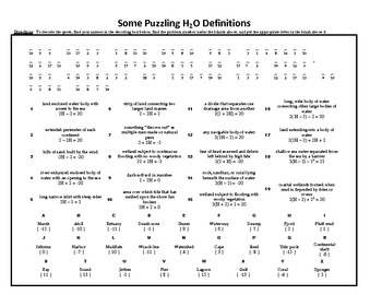 Some Puzzling H2O Definitions, A Solving Linear Equations Mathacrostic