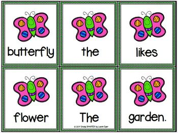 Some Scrambled Bug Sentences:  LOW PREP Sentence Building Activity