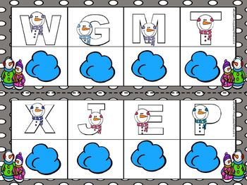 Some Snowmen:  LOW PREP Letter Matching Play Dough Mats