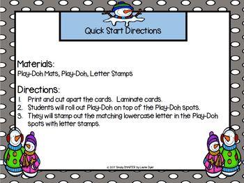 Some Snowmen:  LOW PREP Letter Matching Play Dough Mats