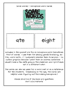 Some Words - Rebecca Sitton - Homophone Mini-Course I Word Cards