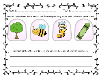 Some Yummy Treats! - A Long e (ee and e_e) Word and Picture Match Game