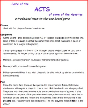 Some of the ACTS of Some of the Apostles:a traditional race-to-the-end game