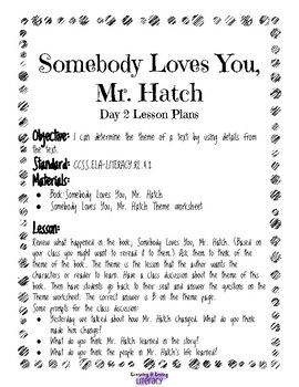Somebody Loves You, Mr. Hatch-Reading Lesson Plan and Activity