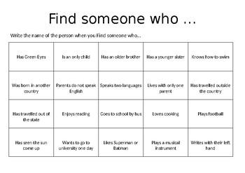 Someone Who BINGO