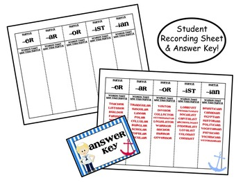 Someone Who or Something Who Suffix Center / Task Cards (Nautical Theme!)