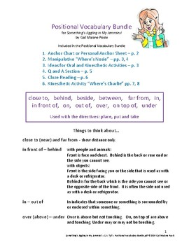 Something's Jiggling in My Jammies! - Positional Vocabulary Bundle