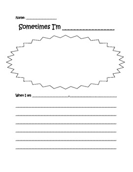 Sometimes I'm Bombaloo Writing Activity--Making Connections, Character Building