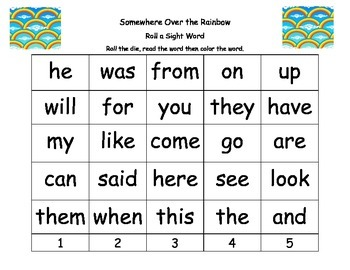 Roll a Sight Word-Somewhere Over the Rainbow