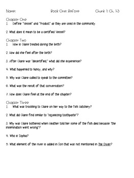"""Son"" Lois Lowry Comprehension Questions (Book One)"
