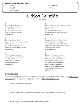Spanish Song A Dios Le Pido Present Subjunctive