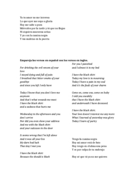 Song Activity-La Camisa Negra