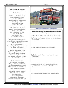 Song Activity: The Chicken Bus Song