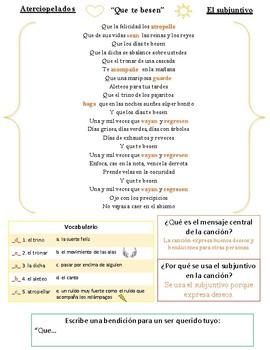"Song Activity for Spanish Subjunctive - ""Que te besen"" - Aterciopelados"