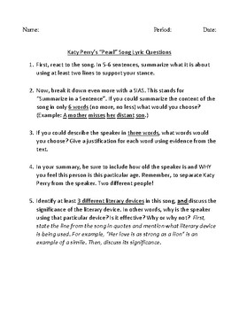 """Song Analysis Questions for Katy Perry's Song """"Pearl"""""""