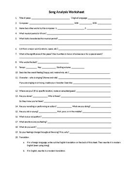 Song Analysis Worksheet by Music Adventures   Teachers Pay Teachers