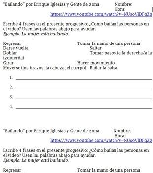 Song: 'Bailando' por Enrique Igleasias y Gente de Zona / Realidades 2 3b