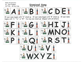 "Song Board - Dismissal/Dr. Jean CD ""All Day Long""/Transition/Alphabet"
