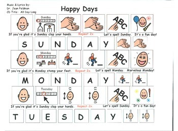 "Song Board - ""Happy Days""/Days of the Week"