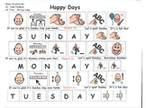"""Song Board - """"Happy Days""""/Days of the Week"""
