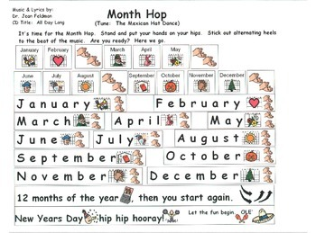 """Song Board - """"Month Hop""""/Dr. Jean's CD """"All Day Long""""/Months of the Year/Fiesta"""